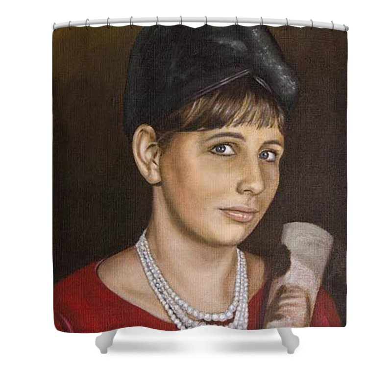 Portrait Shower Curtain featuring the painting Portrait Of My Mother Early Sixties by Rob De Vries