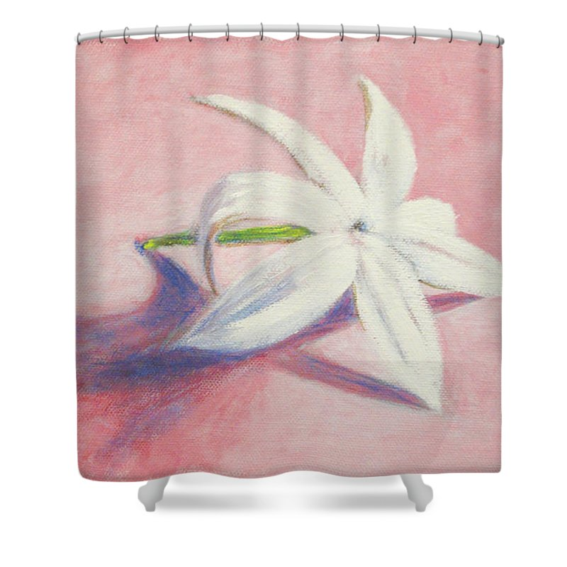 Portrait Shower Curtain featuring the painting Portrait Of The Jasmine Flower by Usha Shantharam