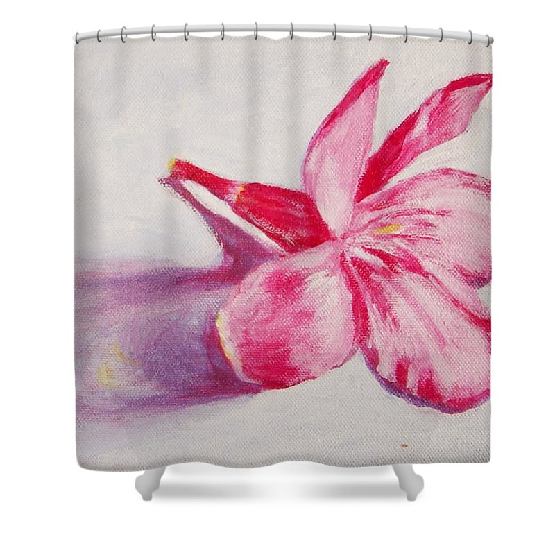 Genneri Shower Curtain featuring the painting Portrait Of The Kaneri Flower. Oleander by Usha Shantharam