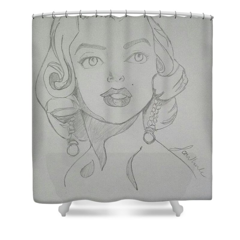 Portrait Shower Curtain featuring the drawing Portrait Of The Tragic Marilyn Monroe, In Graphite by Jonathan Le