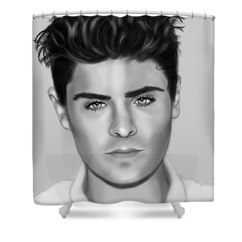 Zac Efron Shower Curtain featuring the digital art Portrait Of Zac Efron by Maria T Martinez