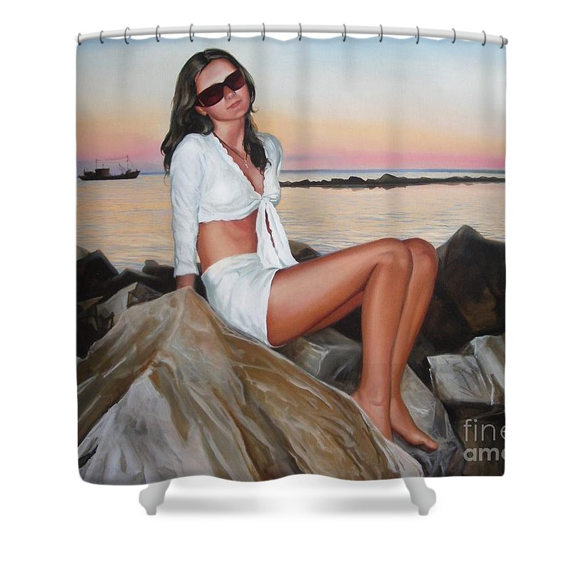 Art Shower Curtain featuring the painting Portrait by Sergey Ignatenko