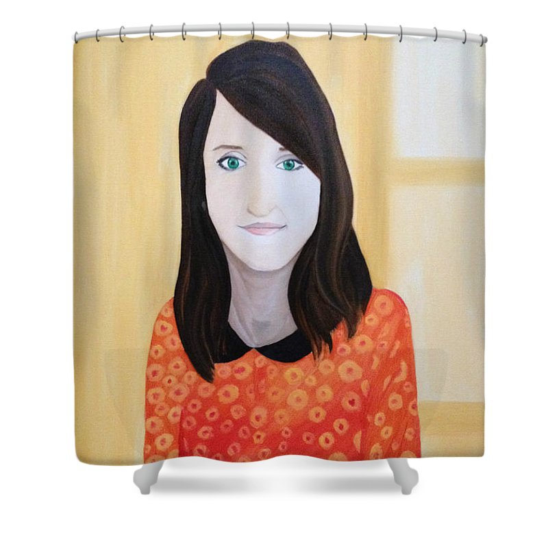 Portrait Of M.b. Light Beauty Modern Shower Curtain featuring the painting Portrat Of M.b. by Costin Tudor