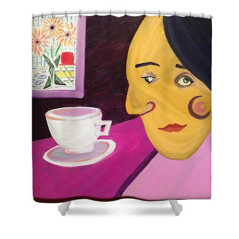 Portrait Woman Modern Coffee Cup Flowers Details Oil Shower Curtain featuring the painting Portrat With Cup And Flowers by Costin Tudor