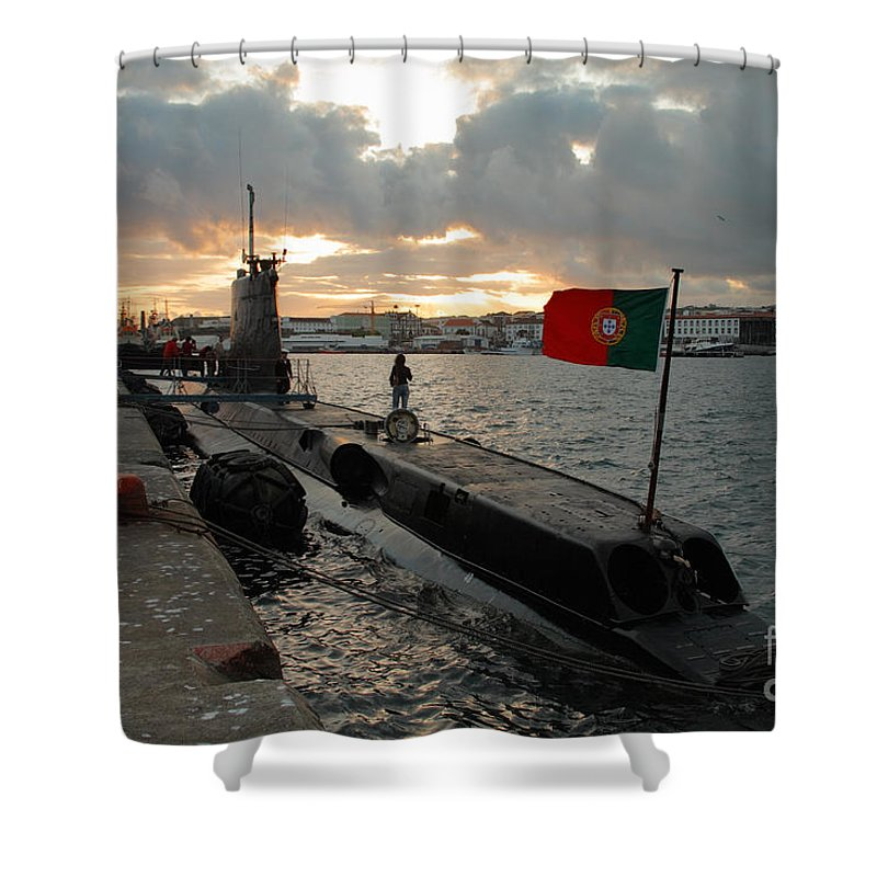Harbor Shower Curtain featuring the photograph Portuguese Navy Submarine by Gaspar Avila