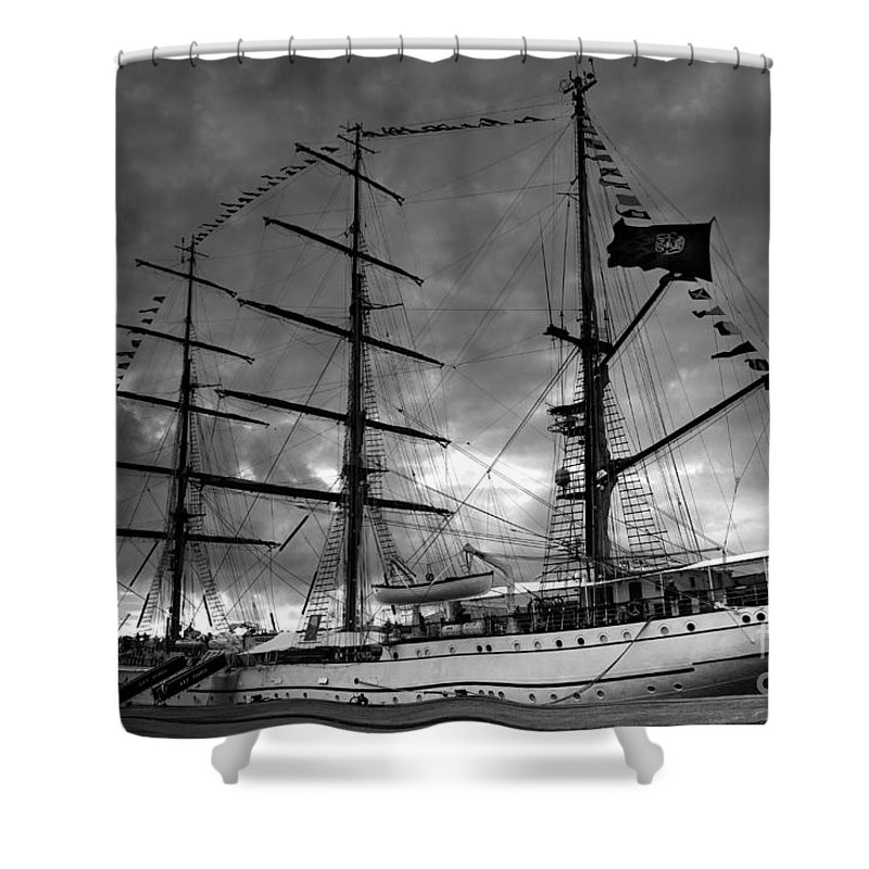 Brig Shower Curtain featuring the photograph Portuguese Tall Ship by Gaspar Avila
