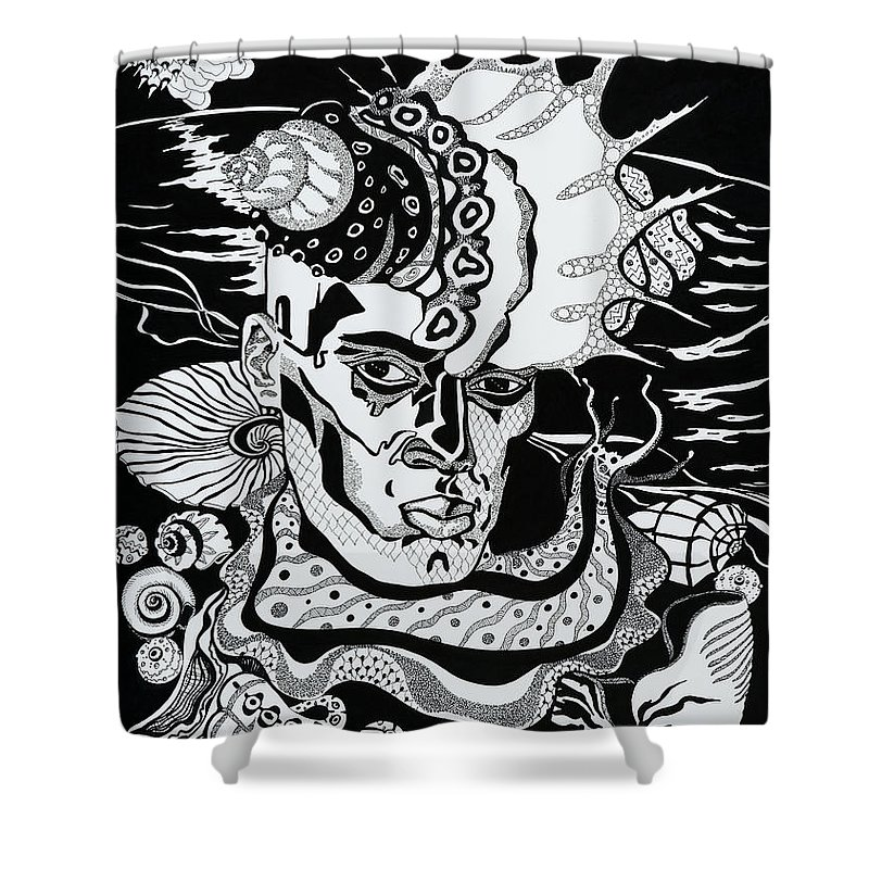 Surreal Shower Curtain featuring the drawing Poseidon by Yelena Tylkina