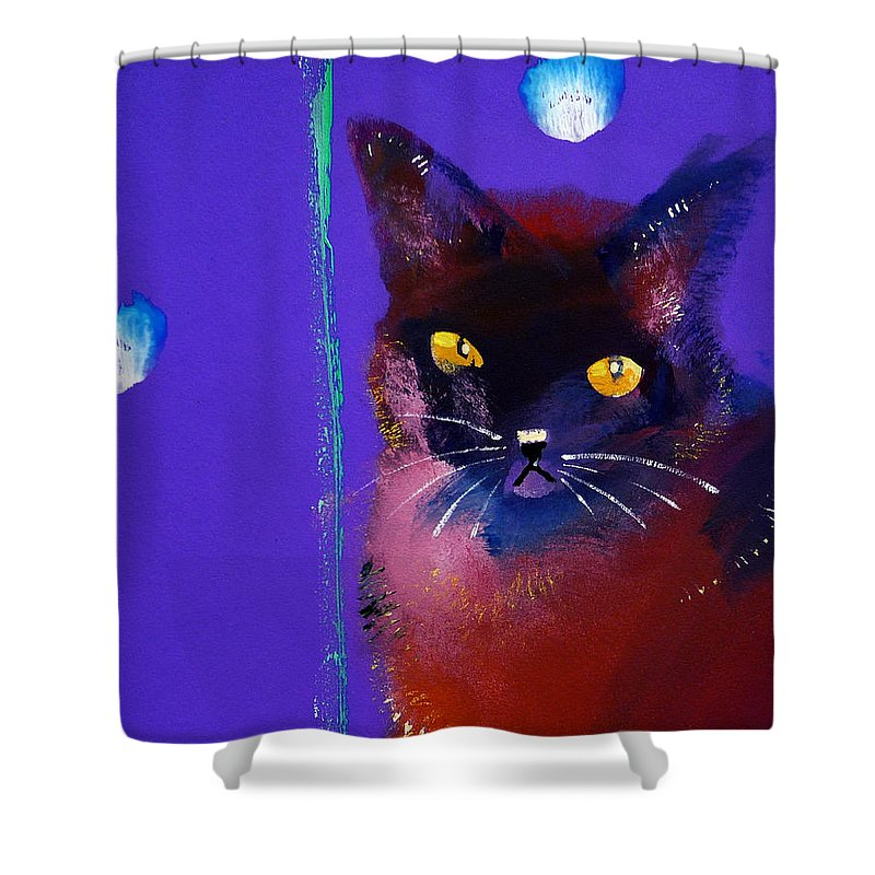 Cat Shower Curtain featuring the painting Posh Tom Cat by Charles Stuart