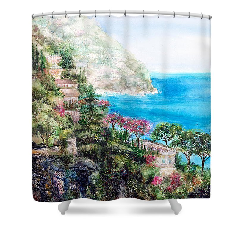 Landscape Shower Curtain featuring the painting Positano by Barbara Colangelo