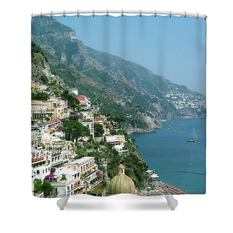 Positano Shower Curtain featuring the photograph Positano In The Afternoon by Donna Corless