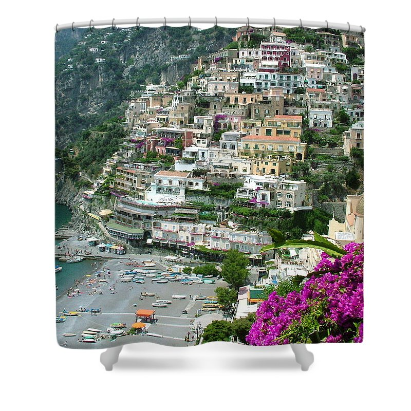 Positano Shower Curtain featuring the photograph Positano's Beach by Donna Corless