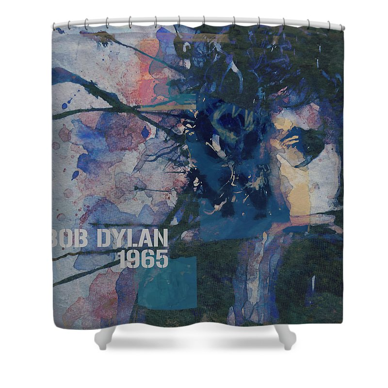 Bob Dylan Shower Curtain featuring the painting Positively 4th Street by Paul Lovering