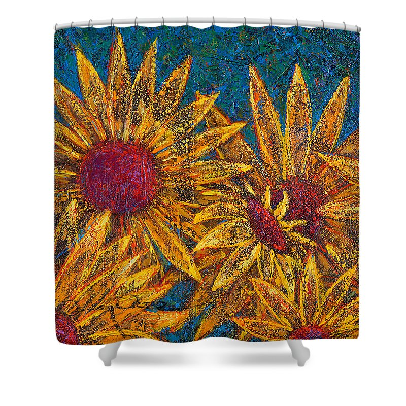 Flowers Shower Curtain featuring the painting Positivity by Oscar Ortiz