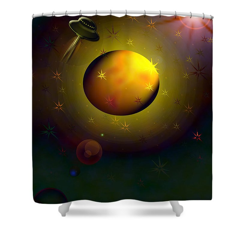 Spaceship Planets Outter Space Skies Galaxy Galaxies Other Worlds Unidentified Flying Objects The Unknown Ufo Star Martians Shower Curtain featuring the digital art Possible by Andrea Lawrence