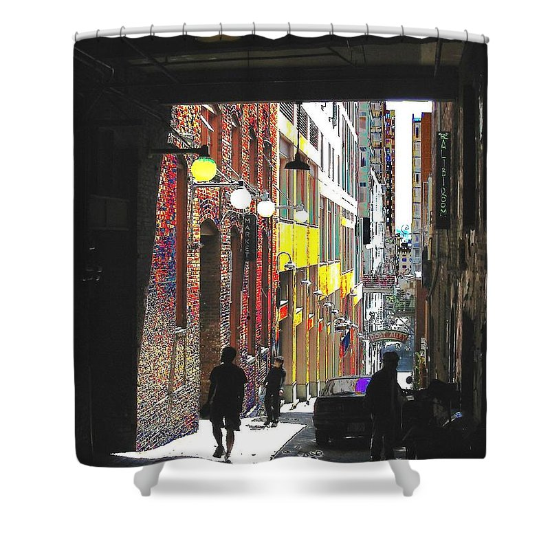 Seattle Shower Curtain featuring the digital art Post Alley by Tim Allen