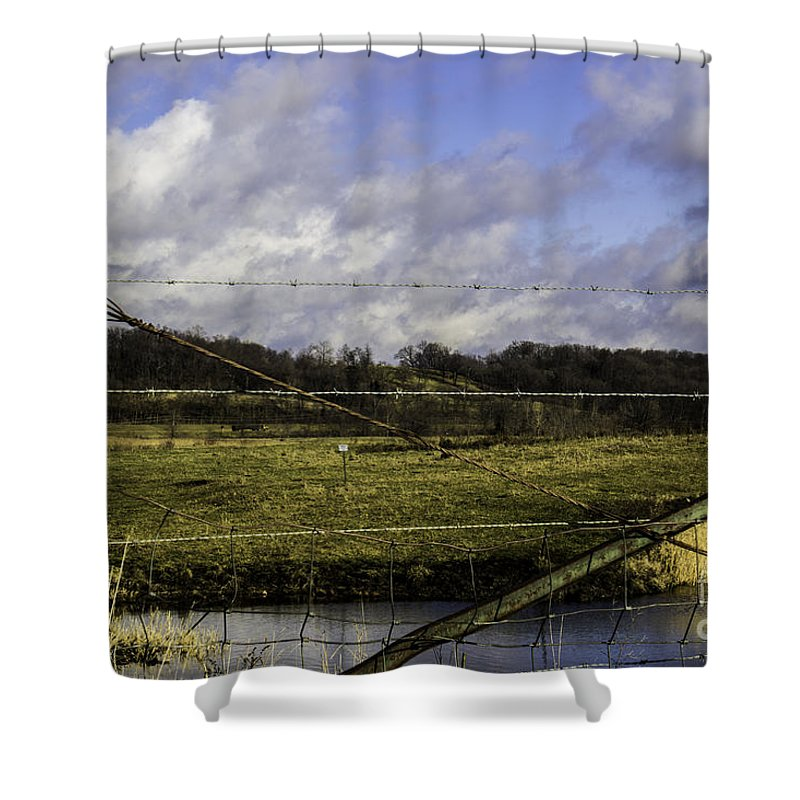 Marsh Shower Curtain featuring the photograph Post By Marshland by Doug Daniels