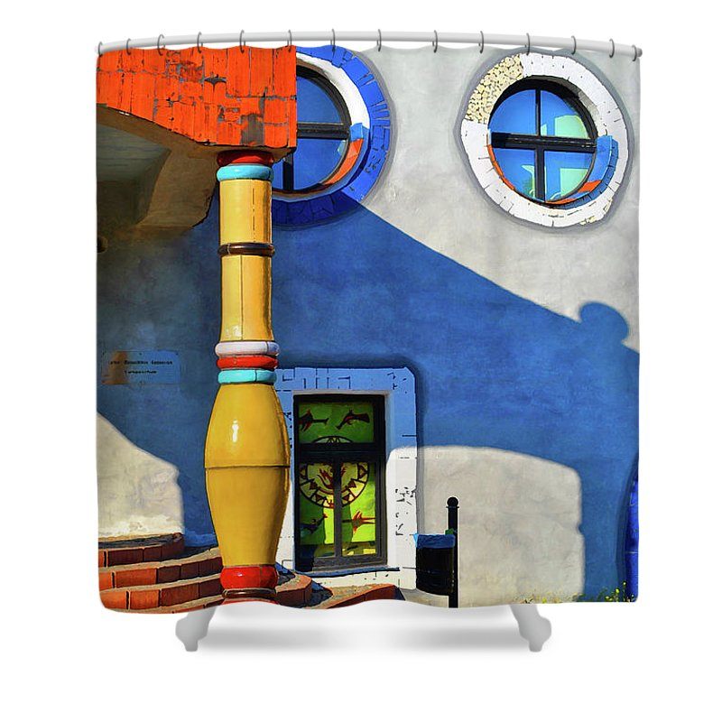 Window Shower Curtain featuring the photograph Post Of Hundertwasser by Jost Houk