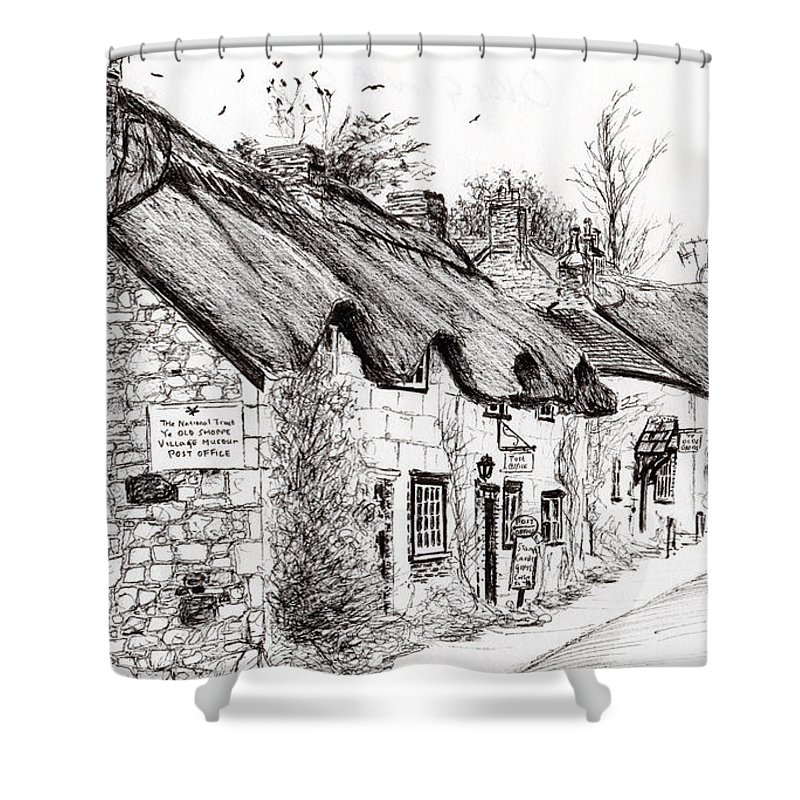 Thatched Roof Drawings Shower Curtains