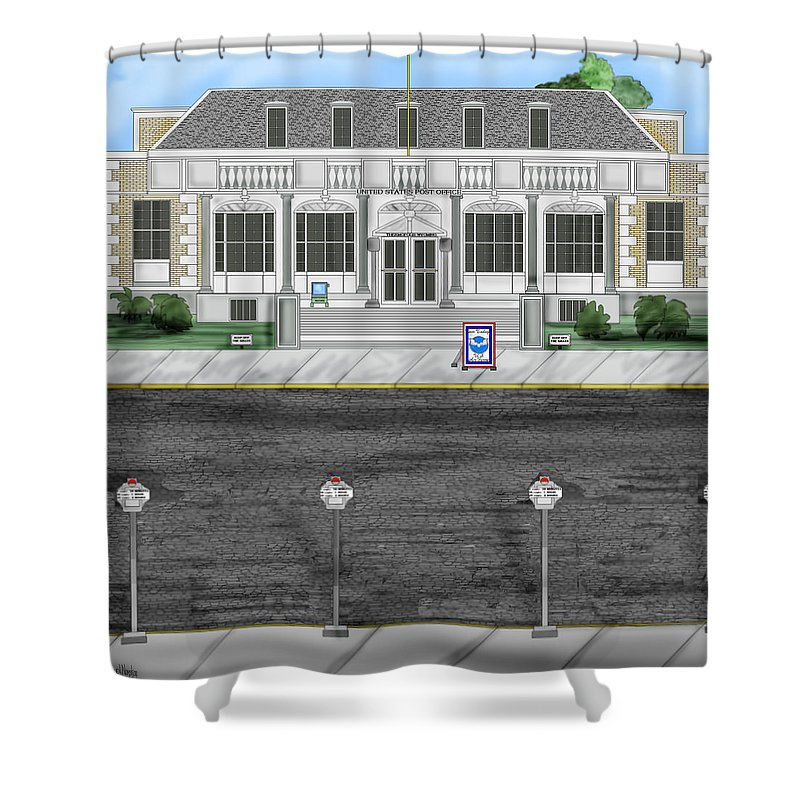 Townscape Shower Curtain featuring the painting Post Office In Thermopolis by Anne Norskog