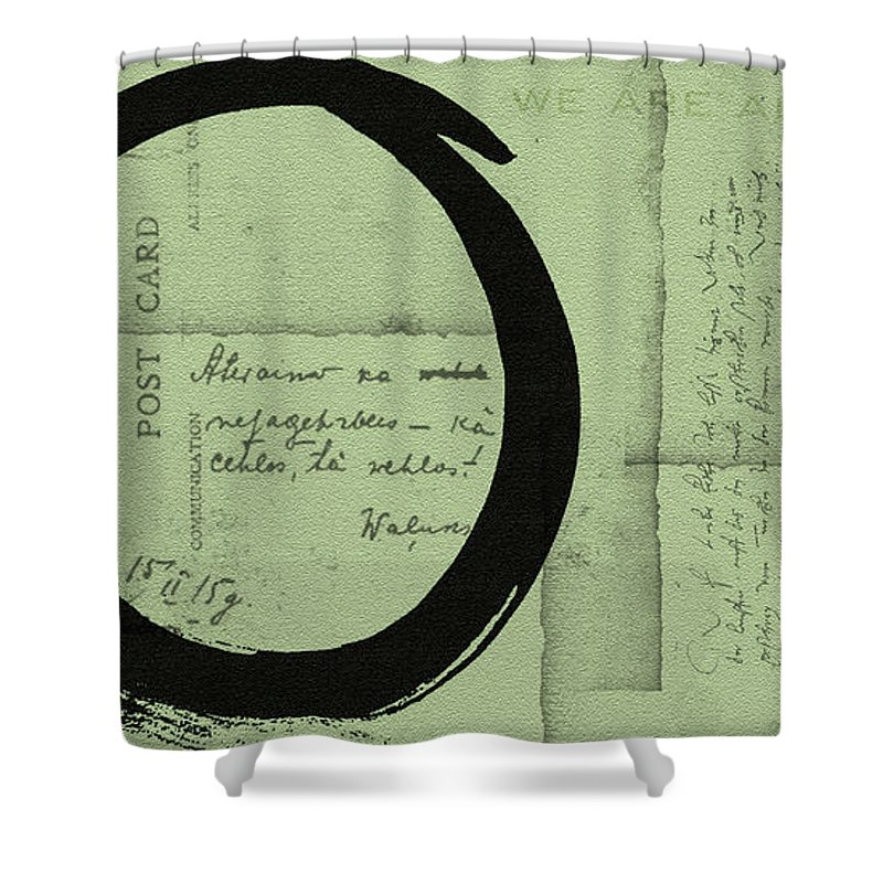 Green Shower Curtain featuring the painting Postcard For Peace by Julie Niemela