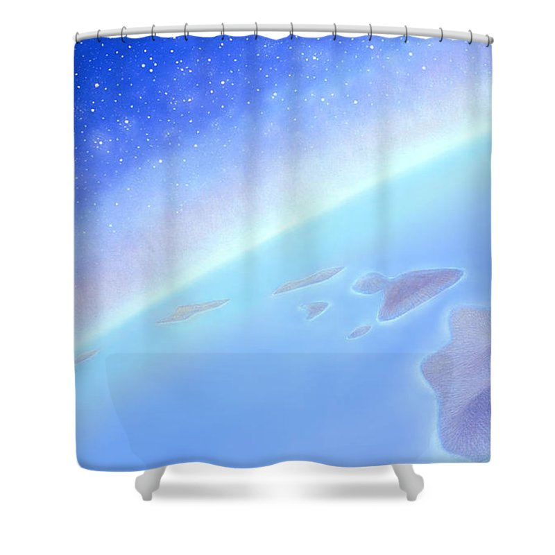 Hawaiian Islands Shower Curtain featuring the painting Postcards From Concorde by Kevin Smith