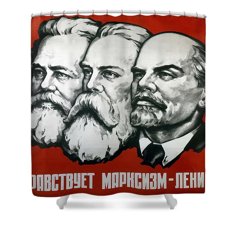 Poster Depicting Karl Marx Shower Curtain featuring the painting Poster Depicting Karl Marx Friedrich Engels And Lenin by Unknown