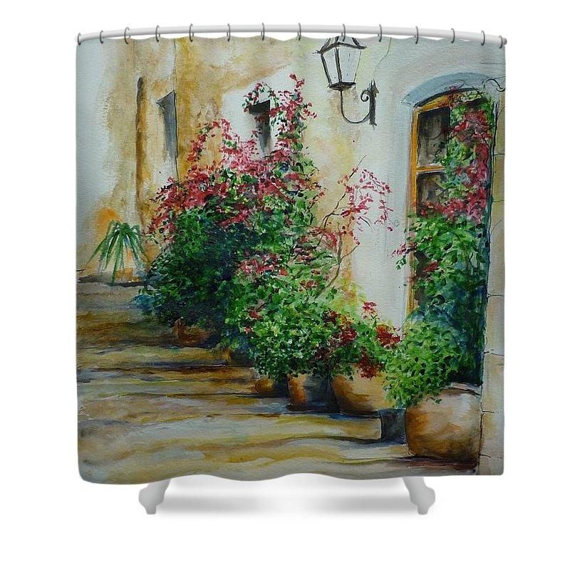 Earthenware Pots Shower Curtain featuring the painting Pots And Plants by Lizzy Forrester