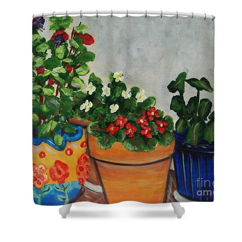 Ceramic Pots Shower Curtain featuring the painting Pots Showing Off by Laurie Morgan