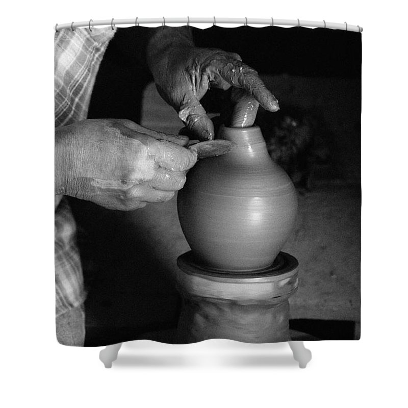 Azores Shower Curtain featuring the photograph Potter At Work by Gaspar Avila