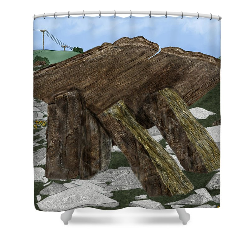 Landscape Shower Curtain featuring the painting Poulnabrone Dolmen County Clare Ireland by Anne Norskog