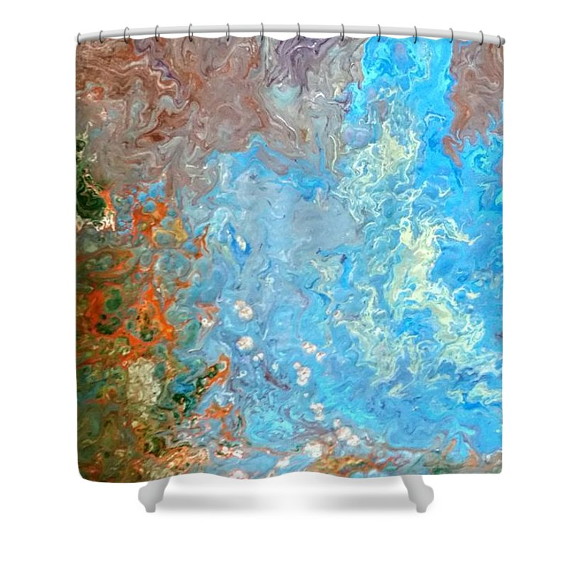 Acrylic Pour Shower Curtain featuring the painting Siskiyou Creek by Valerie Josi