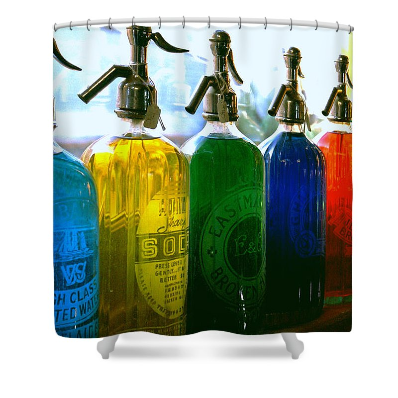Food And Beverage Shower Curtain featuring the photograph Pour Me a Rainbow by Holly Kempe