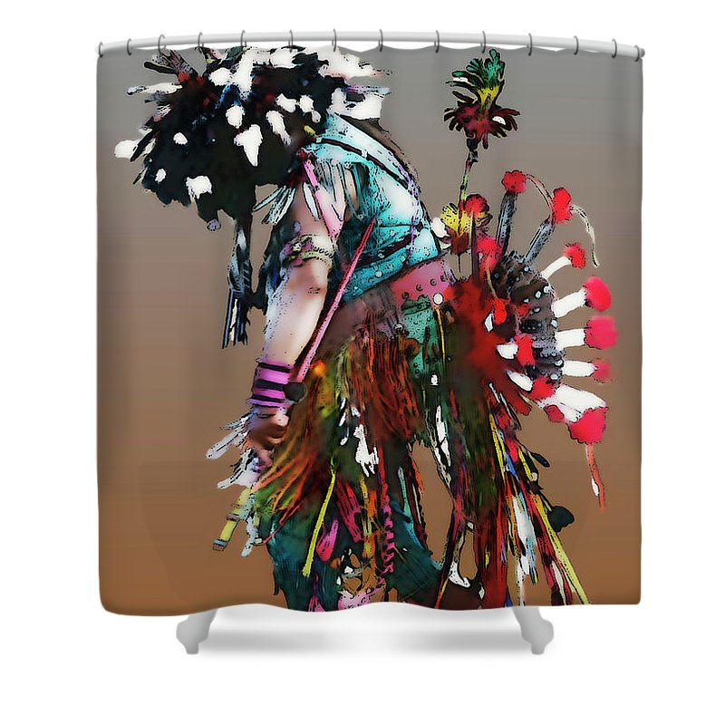 Abstract Shower Curtain featuring the photograph Pow Wow Dancer by Linda Parker