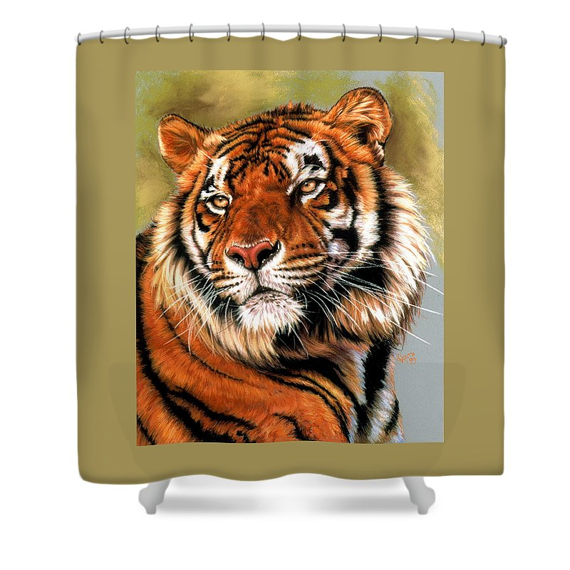 Tiger Shower Curtain featuring the pastel Power And Grace by Barbara Keith
