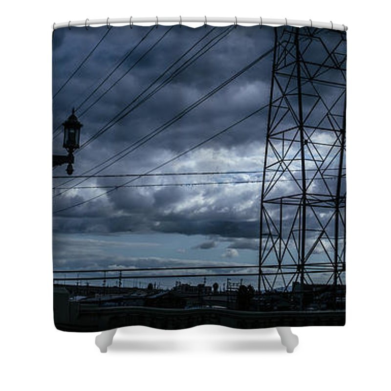 Iphone Cover Shower Curtain featuring the photograph Los Angeles Power Grid At Dusk by Ralph King