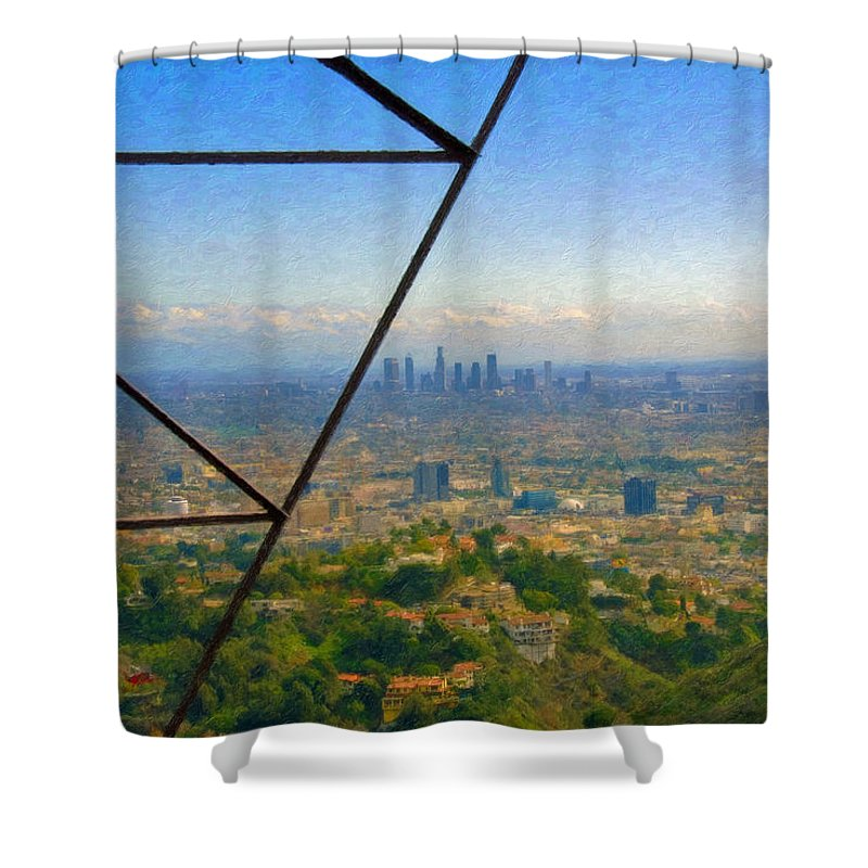 Power Lines Los Angeles Skyline Shower Curtain featuring the photograph Power Lines Los Angeles Skyline by David Zanzinger