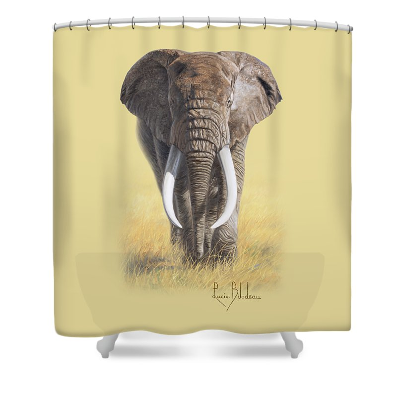 Elephant Shower Curtain featuring the painting Power Of Nature by Lucie Bilodeau