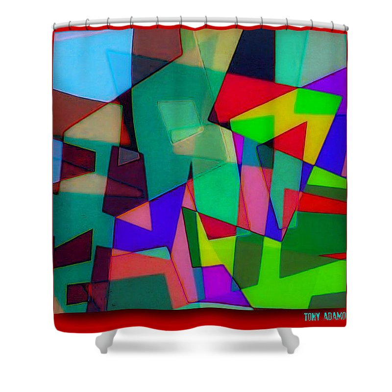 Powerful Types Of Beliefs In Broken Fragments/tonyadamo Shower Curtain featuring the digital art Powerful Types Of Beliefs In Broken Fragments/tonyadamo by Tony Adamo