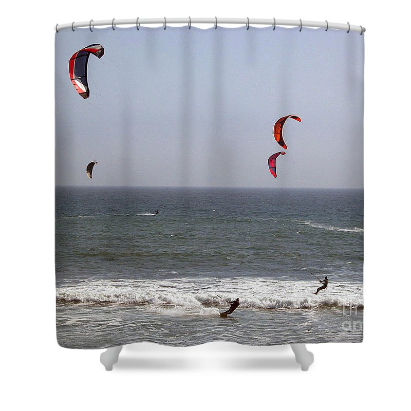 Seascape Shower Curtain featuring the photograph pr 122 - Five Windsurfers by Chris Berry