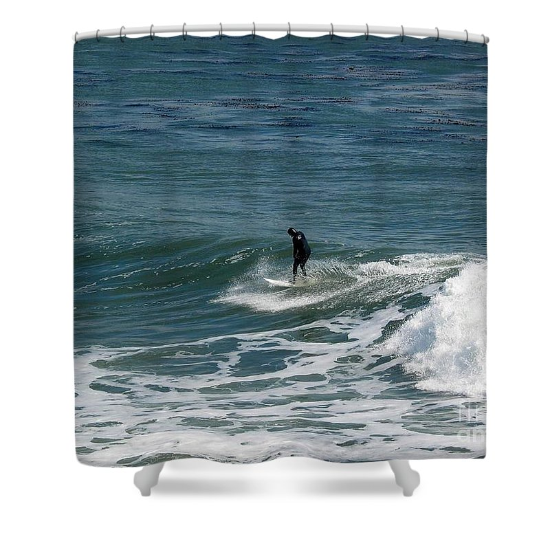 Landscape Shower Curtain featuring the photograph pr 127 - Solo Surfer by Chris Berry