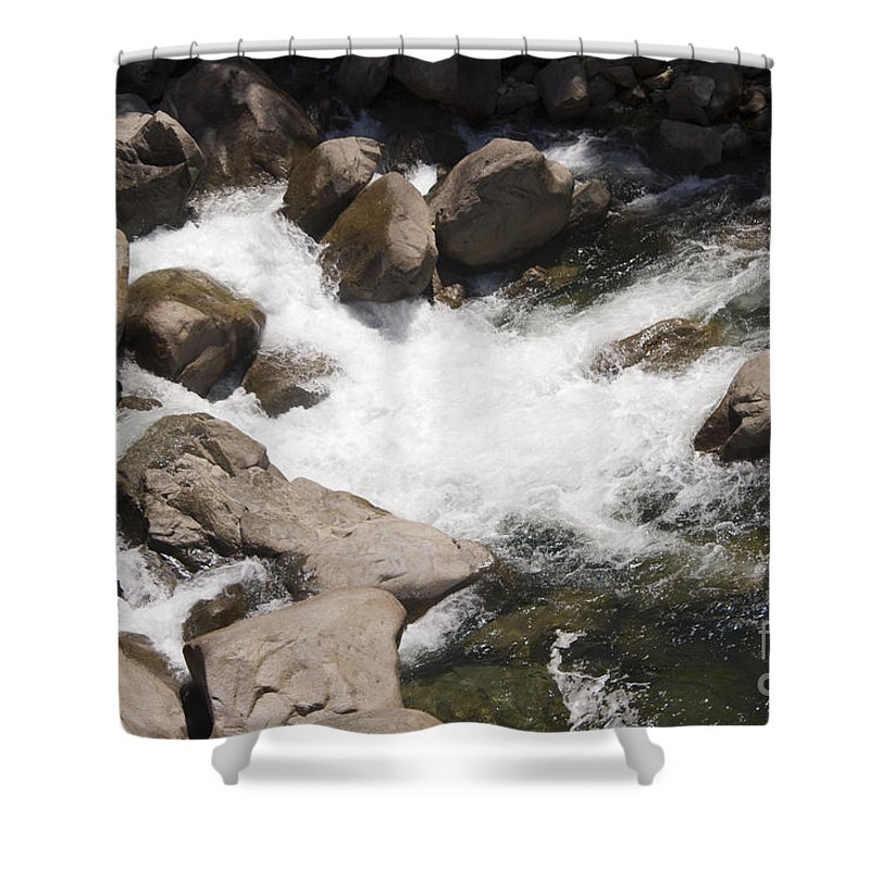 Landscape Shower Curtain featuring the photograph pr 144 - White Water on the Merced by Chris Berry
