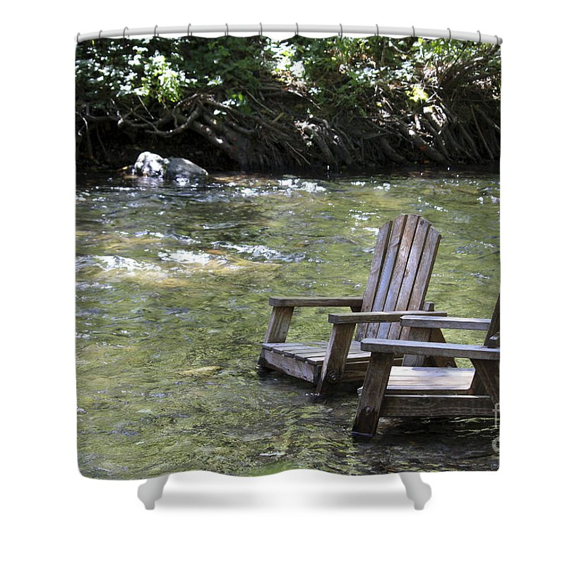 Landscape Shower Curtain featuring the photograph pr 165 - Chairs In The River by Chris Berry
