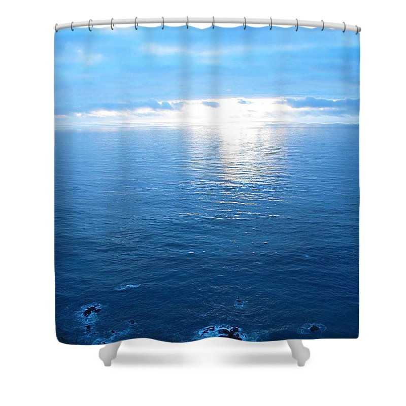 Seascape Shower Curtain featuring the photograph pr 168 - Blue Sunset II by Chris Berry