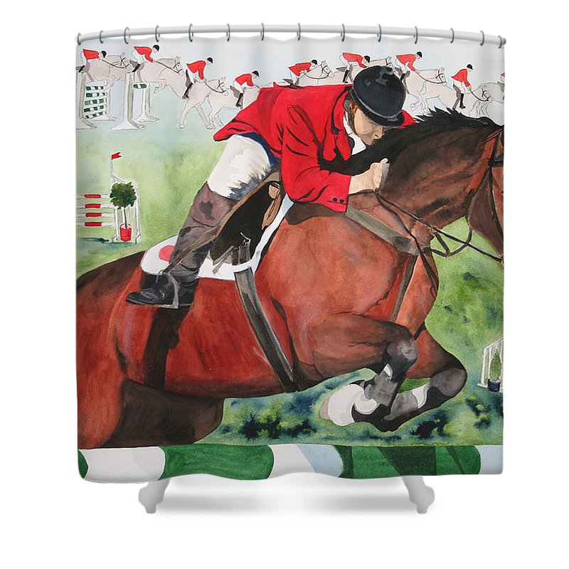 Horse Shower Curtain featuring the painting Practice Makes Perfect by Jean Blackmer