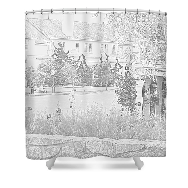 Golf Shower Curtain featuring the photograph Practice Round At Pebble Beach by Pharris Art