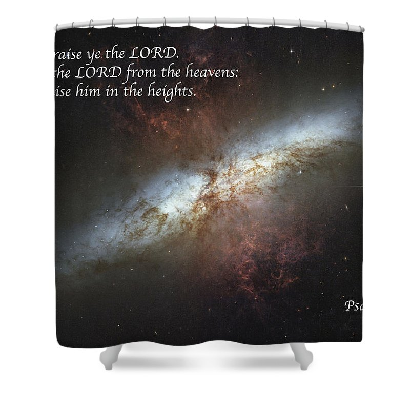 Space Shower Curtain featuring the photograph Praise Him From The Heavens by Michael Peychich
