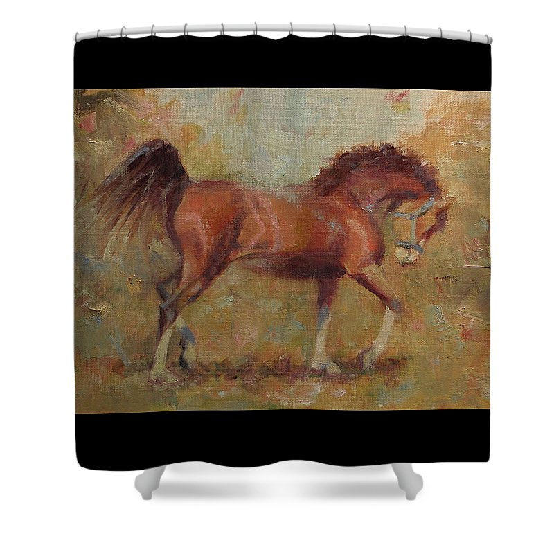 Horse Shower Curtain featuring the painting Prancing Bay by Sarah Parks
