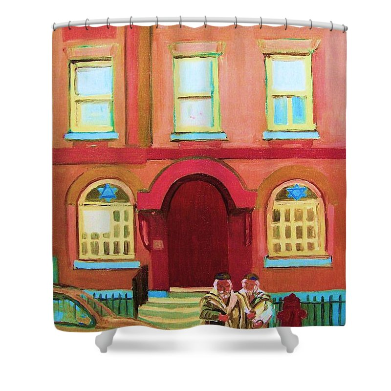 Bagg Street Synagogue Shower Curtain featuring the painting Prayer Shawls by Carole Spandau