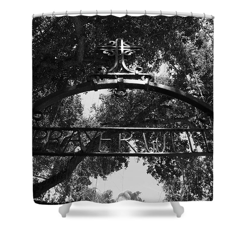 Black And White Shower Curtain featuring the photograph Prayer Well by Rob Hans