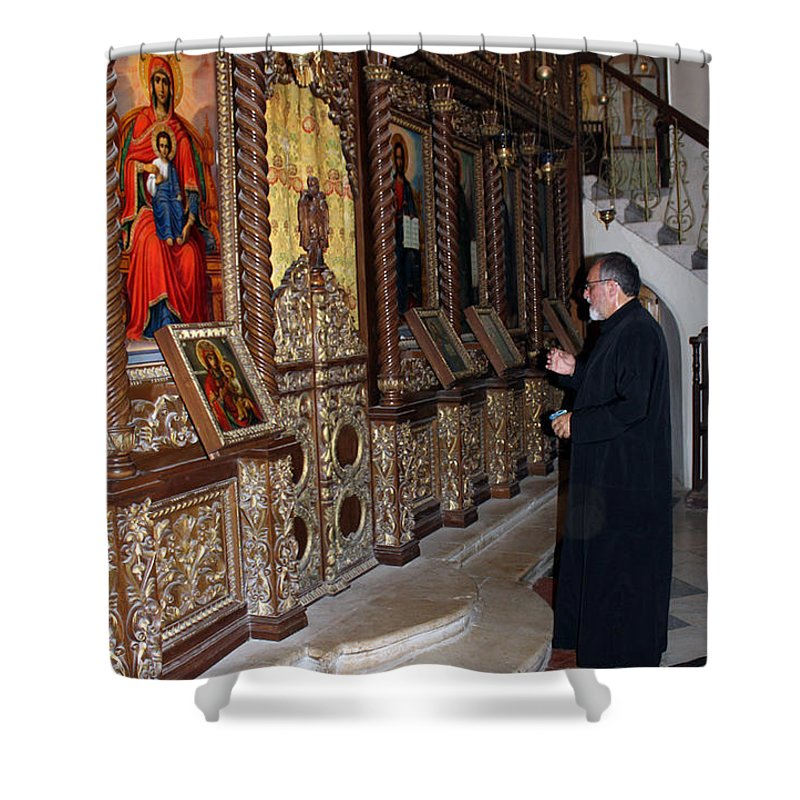 Priest Shower Curtain featuring the photograph Praying In Jericho by Munir Alawi